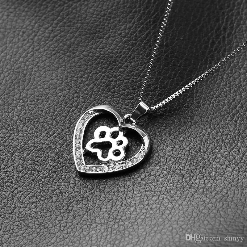 Women Cute Dog Paw Heart Pendant Necklaces Rhinestone Silver Plated For Gift Necklaces & Pendants Jewelry Hot Sale