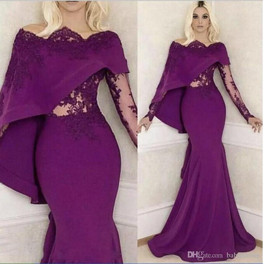 bd3855187f8 Vintage Grape Long Sleeves Evening Dresses 2019 Mermaid Illusion Appliques  Top With Cape Long Party Pageant Prom Gowns Mother Dress Arabic Silver  Bolero ...