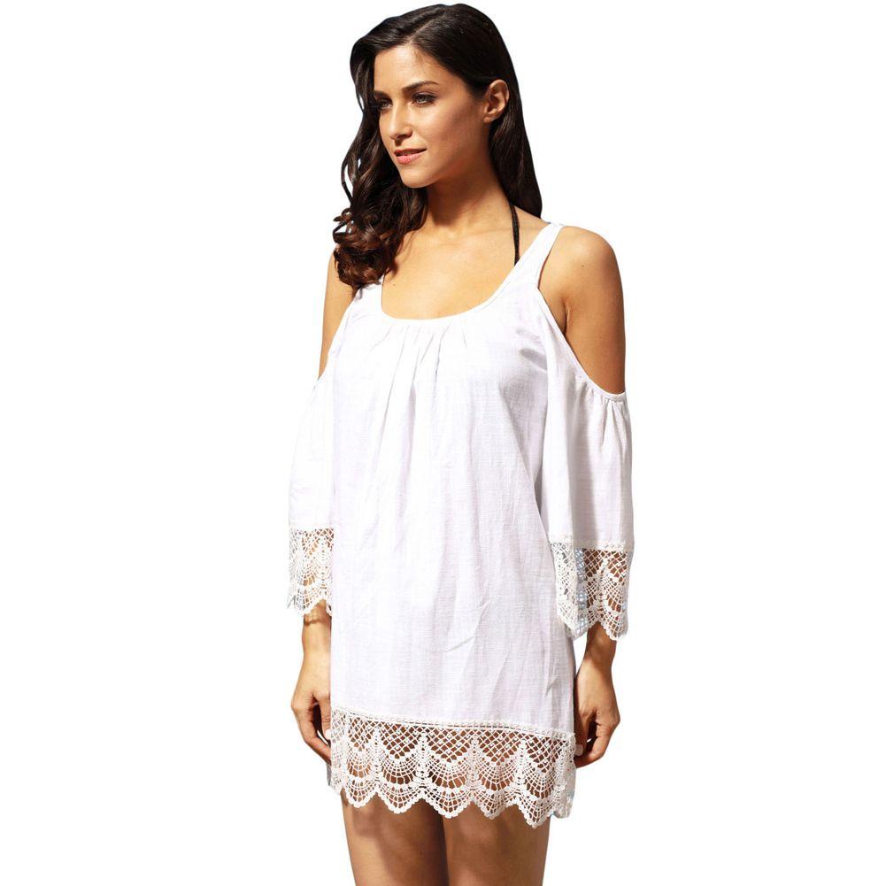 7c27b1da1 Compre 2019 Mujeres Sexy Cubierta De Bikini Hombro Frío Encaje Encaje  Crochet Beach Dress O Cuello Ropa De Playa Mini Vestido Blanco   Negro Robe  De Plage A ...