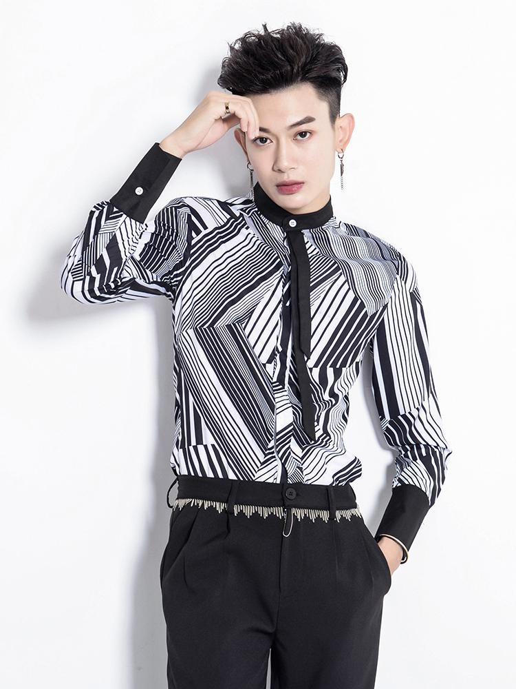 acquisto economico 5d9d9 61842 2018 NOVITÀ Abbigliamento uomo Trend fashion original hairstylist Camicia  uomo a maniche lunghe a righe in bianco e nero