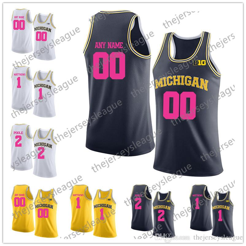 e235703ecbf415 2019 NCAA Custom Michigan Wolverines 2018 Mother Days Any Name Any Number  Pink Navy Yellow White Stitched Wagner Poole College Basketball Jersey From  ...