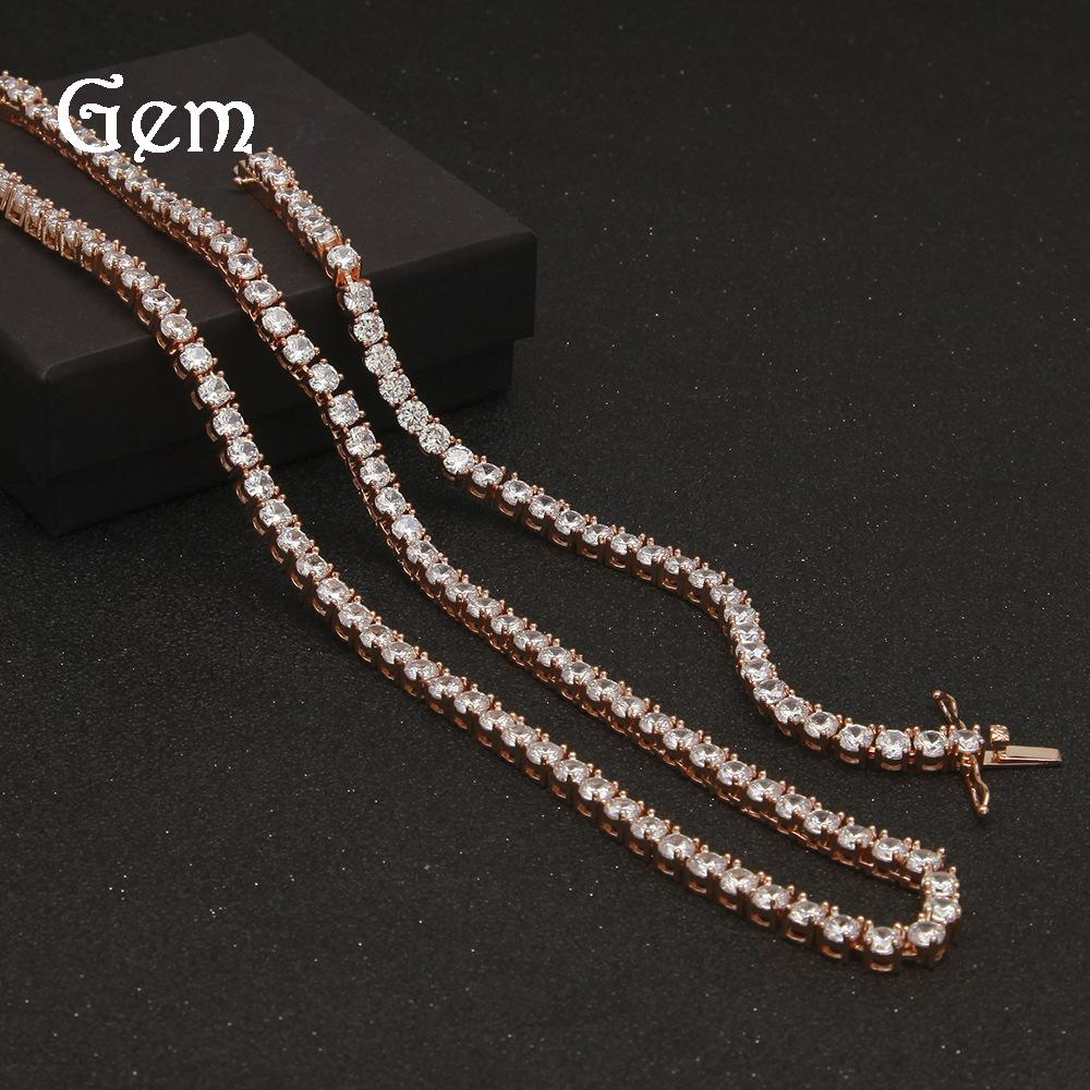2199a8c97e1da Rose Gold Color Tennis Chain Bracelet Necklace Hip Hop Bling Men Boy Gift  Jewelry Top Quality Brass Cz Tennis Chain#hop