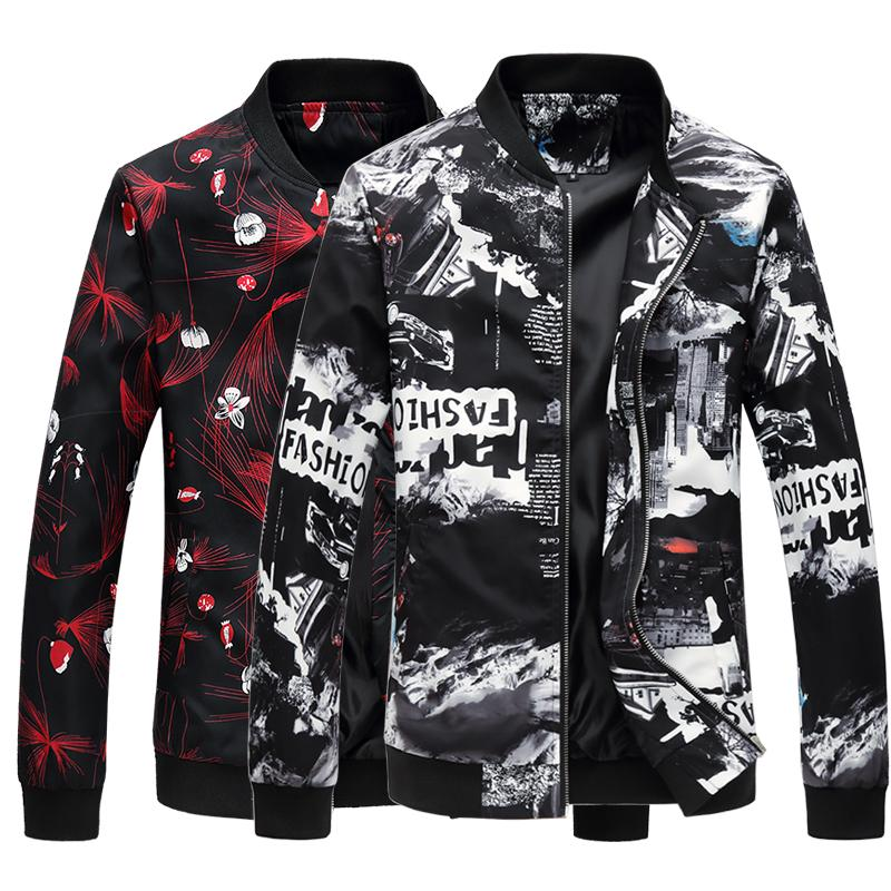 Fashion Floral Bomber Jacket Coat Mens Flower Printing Slim Fit Male