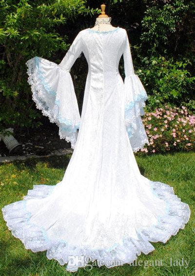 Narnia Style Victoria Velvet and Lace Fantasy Medieval Fairy Wedding Gown Custom 2018 light blue lace-up bell long sleeve wedding dresses