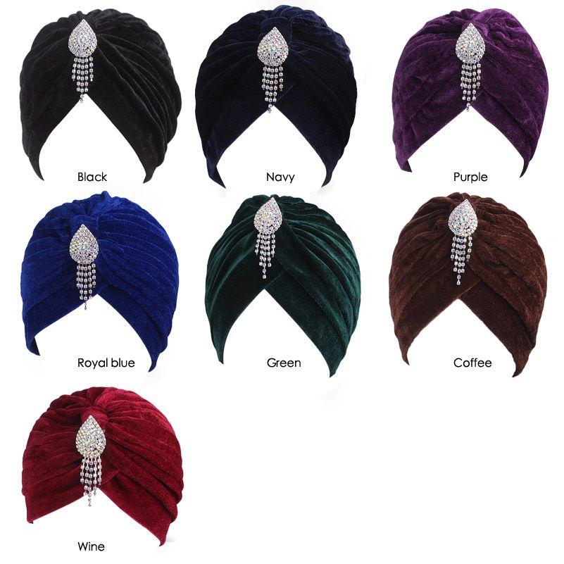 71a8a58fce4 Muslim Women Ruffle Velvet Pendant Elastic Turban Hat Cancer Chemo Beanies  Caps Headwear Wrap Plated Bonnet Hair Accessories Black Baseball Cap  Knitted Hats ...