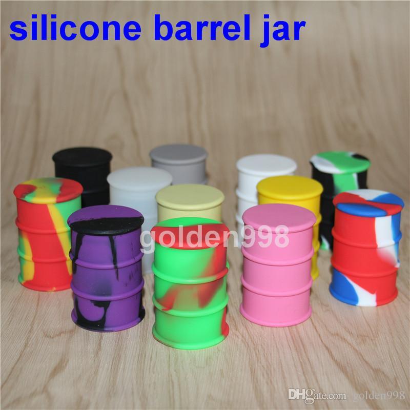 Silikon yağı varil konteyner kavanozlar dab wax buharlaştırıcı yağ kauçuk davul şekli konteyner 26 ml gıda sınıfı silikon DHL tarafından 50 adet dab ped ücretsiz