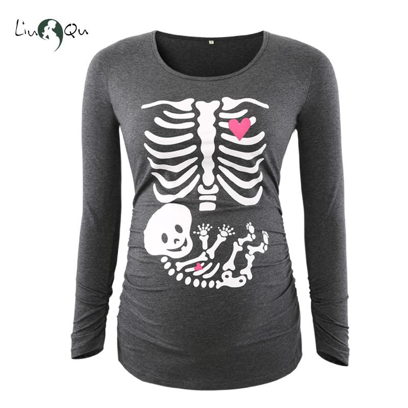 258202282b375 2019 Funny Pregnancy Shirts Print Skeleton Maternity Tops For Pregnant  Women Long Sleeve Soft Cotton T Shirts Plus Size Tees Wholsale From  Cornemiu, ...