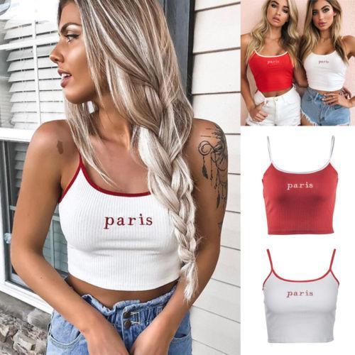 77004ae7b53015 Fashion Women Summer Top Vest Sleeveless Crop Tops T Shirt Paris Casual Tee  Shirt Short Sleeve Shirt Novelty T Shirts From Wanglon04