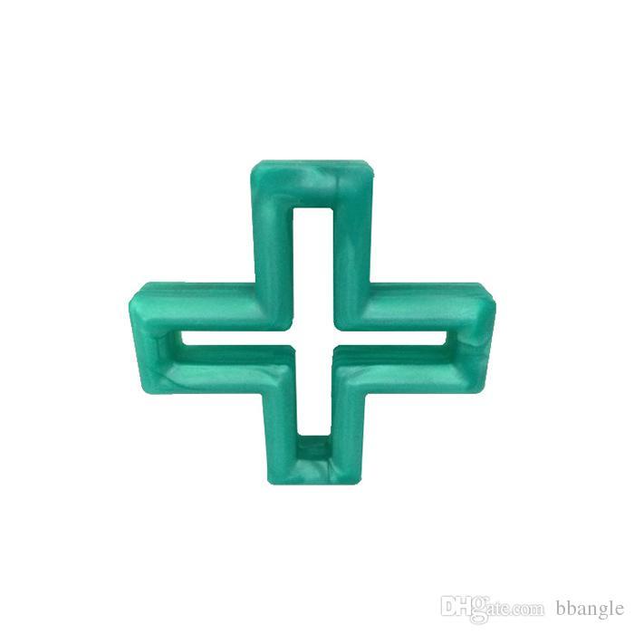 Silicone Cross Teether Teething Pendant BPA Free Silicone Nursing Teething Beads Swiss Geometric Cross Chewable Jewelry Sensory Toy