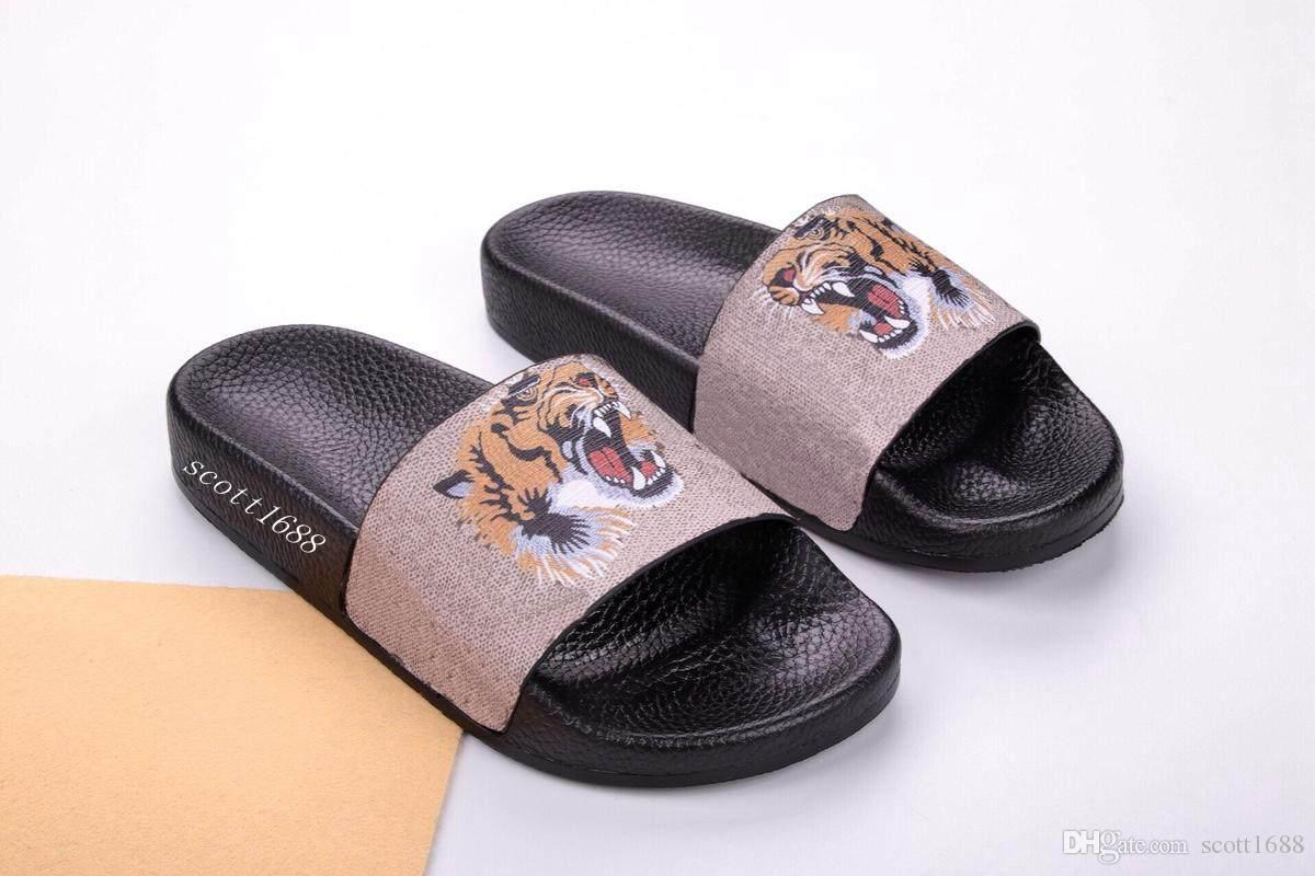 e140468bcee4 Mens And Womens Tiger Print Rubber Slide Sandals Flip Flops 3 Styles Street  Fashion Style Causal Flats Slippers Winter Boots For Women Boots Online  From ...