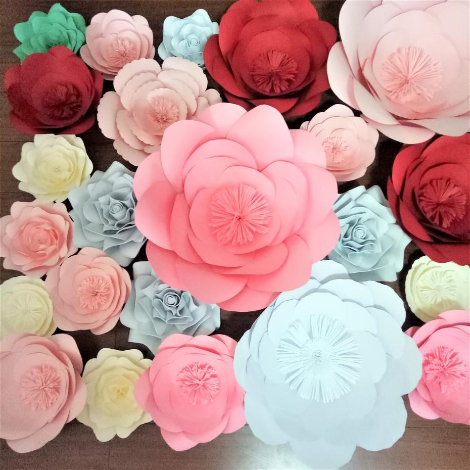 2018 Diy Giant Paper Foam Flowers Backdrops Decortaions Wedding
