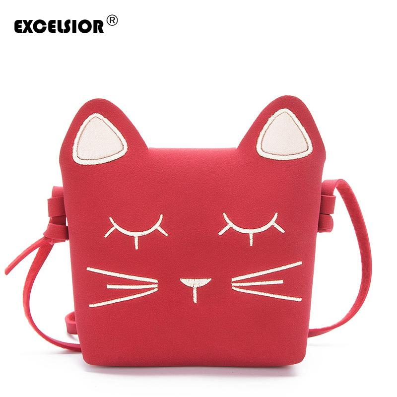 EXCELSIOR 2018 Cute Cartoon Cat Mini Shoulder Bag Crossbody Bags For Girls  Leather Luxury Handbag Women Messenger Bags G1646 Backpacks For School Kids  ... 6059a3159791b