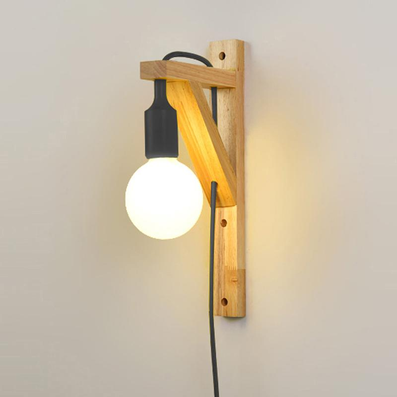 2018 Wall Lamps With Cable Simple Wooden Creative Hanging Solid Wood ...