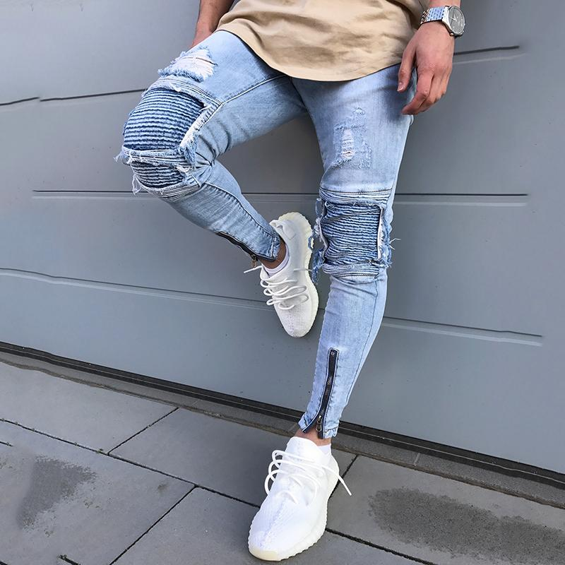 new cheap fashion styles new high quality New Skinny Jeans For Male Distressed Stretch Jeans men Blue Fashion Ripped  Skinny Pants Slim Fit Dropshipping Supply Tape Design