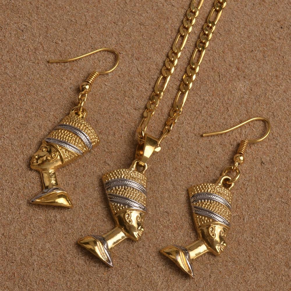 Anniyo Egipt Nefertiti Queen Portret Naszyjnik Kolczyki Egipskie kobiety, dwa tona afrykańska biżuteria zestawy # 098906b