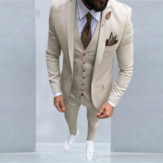 Hot Latest Coat Pant Designs Beige Men Suit Slim Fit Tuxedo Groom ...