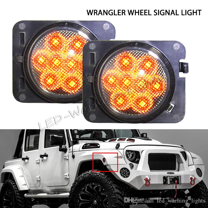 20pairs front fender flares LED turn signal lights smoked side marker lamps  clear front wheel signa light kit for Jeep Wrangler JK 07-16