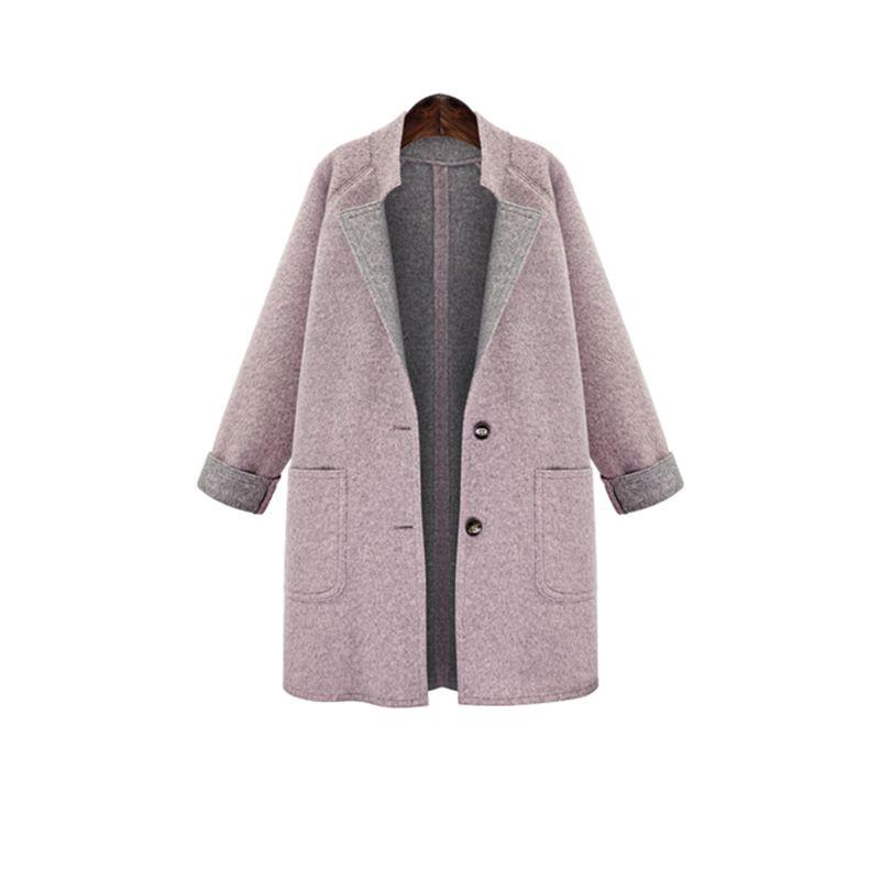 Acquista 2018 Donne Cappotto Autunno E Inverno Indossare Di Grandi  Dimensioni Delle Donne Di Colore Solido Sciolto Lungo Tratto Grande Tasca Cappotto  Di ... f7e988f750b