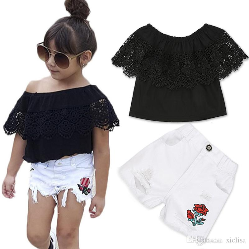 2018 Fashion Girls Suit stripe Tops + pants 2 Pieces The Strapless Set Kids Bowknot Hole white pants girls clothing set DTZ346