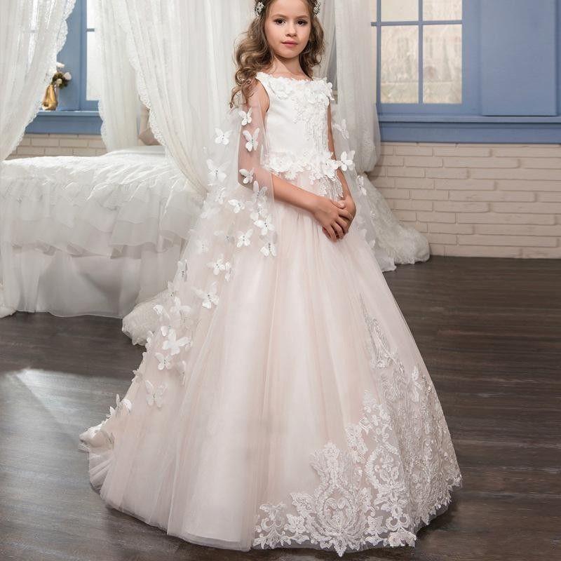 0169d0df07188 Satın Al Romantik Kelebek Ile 2019 Çiçek Kız Elbise Sarar 3D Çiçek Prenses  Aplikler Jewel Düğün Kızlar Pageant Parti Communion Önlük, $106.54 | DHgate.