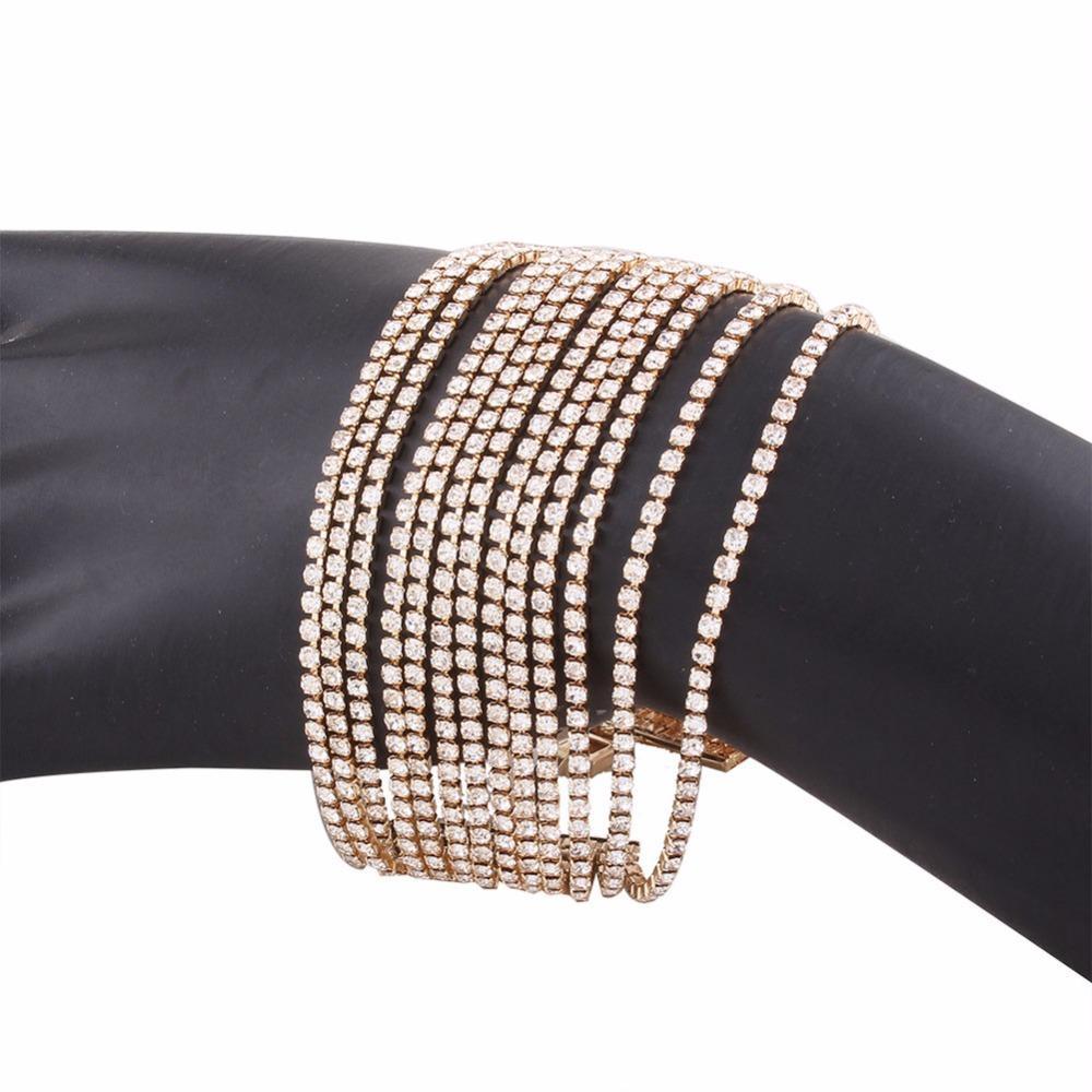Braccialetti di strass di più strati i braccialetti di dichiarazione delle donne Gioielli di nozze di lusso della donna di moda # 241009