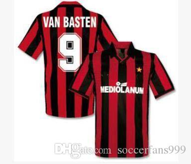 2019 90 91 AC MILAN Jersey Retro Shirts Home Gullit Ancelotti SOCCER JERSEY  1990 1991 Tassotti Maldini Baresi Van Basten Rijkaard Football From ... b68be1ba9