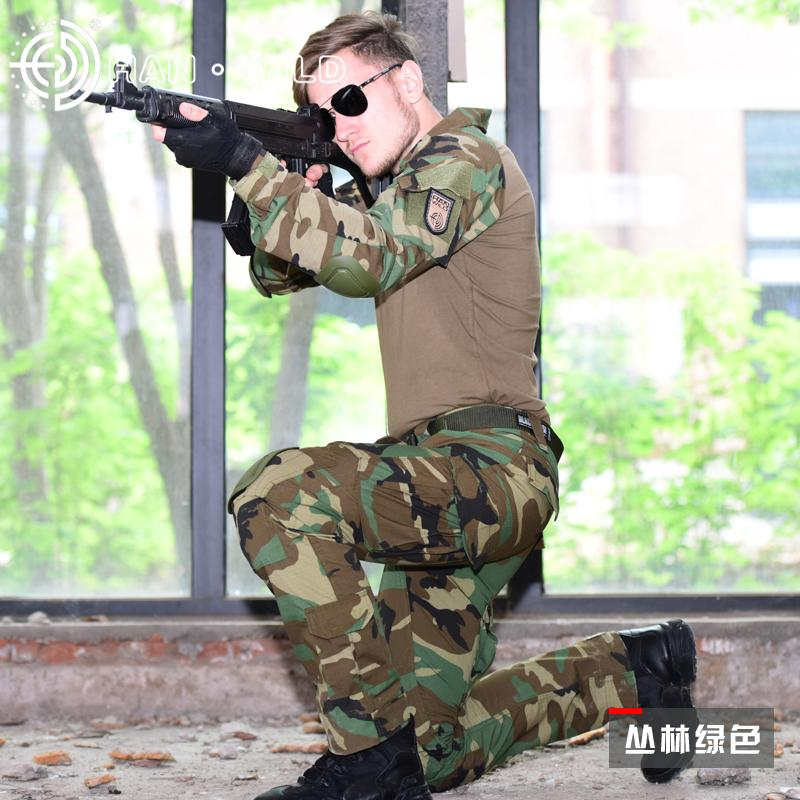 Tactical Suit Army Hunting Clothes Multicam Combat Uniform shirt + pants Suit knee pads Camouflage Clothing