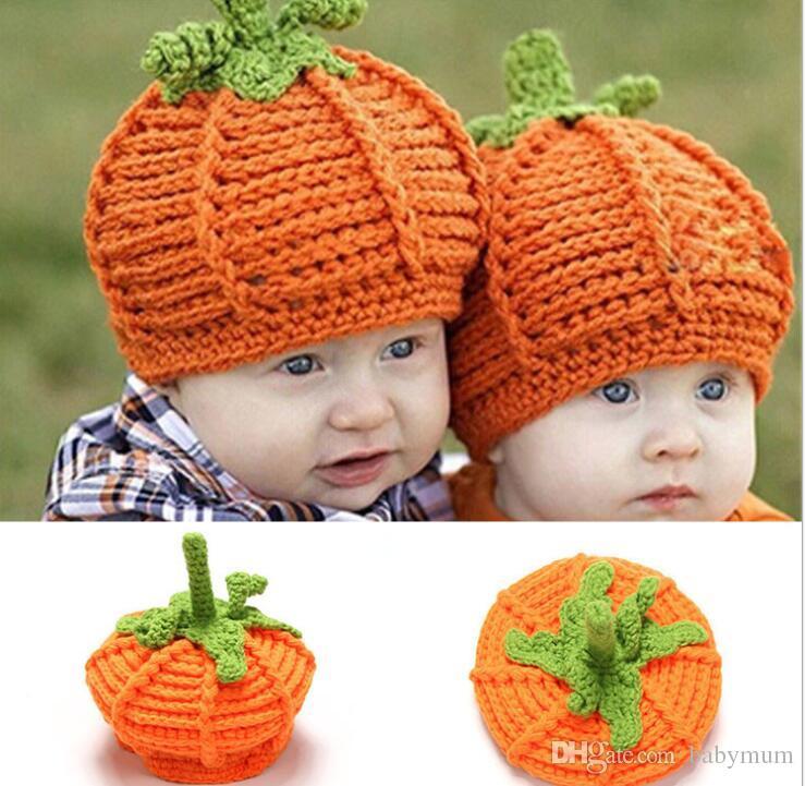 Großhandel Baby Kürbis Häkeln Hüte Mütze Mädchen Kürbis Mütze
