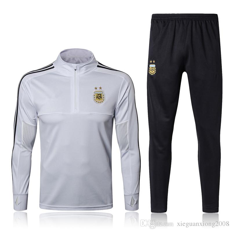 2018 World Cup Argentina Tracksuit Chandal Futbol Training Suit 1718  Jogging Soccer Set Football Sweater Di Maria Messi Training Suits Online  with ... 5763b92a0aa06