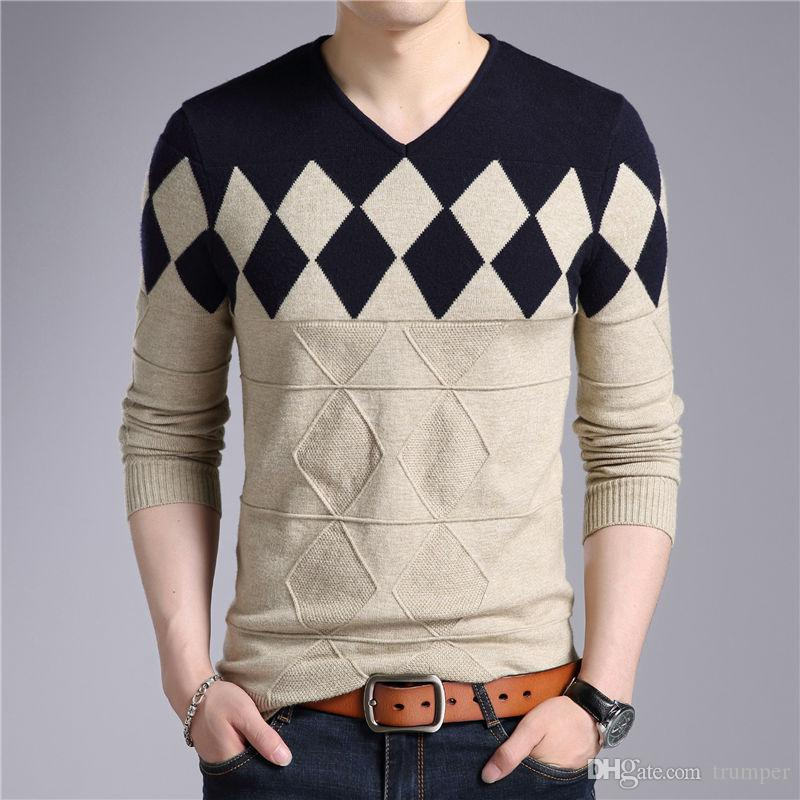 on sale ad099 d4ca1 Maglione di lana cashmere uomo autunno inverno Slim Fit Pullover uomo  Argyle modello con scollo a V pull Homme maglioni di Natale M-037