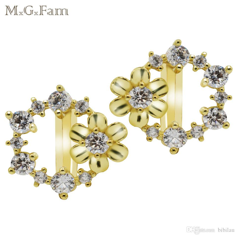 c02ca9f17 2019 MGFam 431E 14k Gold Plated Flower Hoop Earrings For Lovely Women Cubic  Zircon Clear Top Quality From Bibilau, $3.07 | DHgate.Com