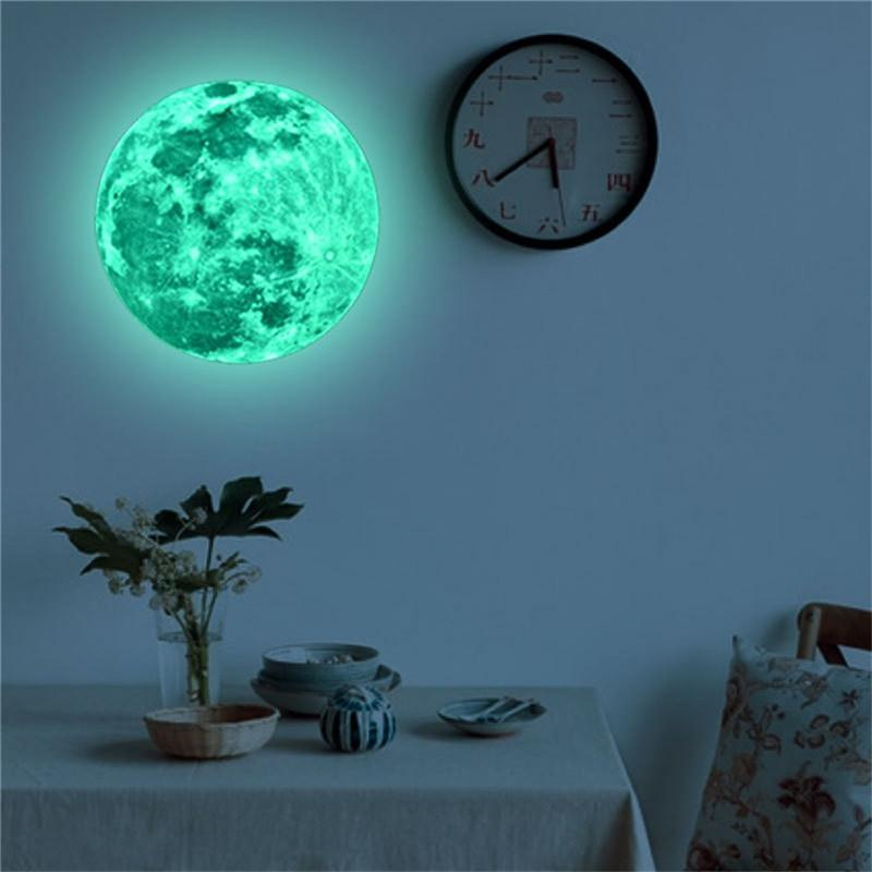 3d large moon fluorescent wall sticker removable glow in the dark