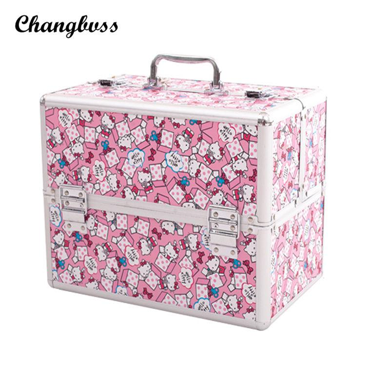 Super Lovely Pink Cute Cat Women Cosmetic Bag Travel Potable Makeup ... 4bae46e1b4cd5