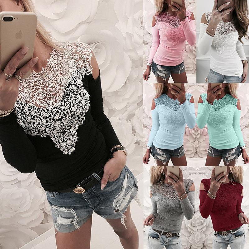 S-3XL Lace Splice Long Sleeve O-neck T-shirt Spring Summer 2019 Casual Women Shirt Hollow Out Sexy Shirt Off Shoulder Women Tops