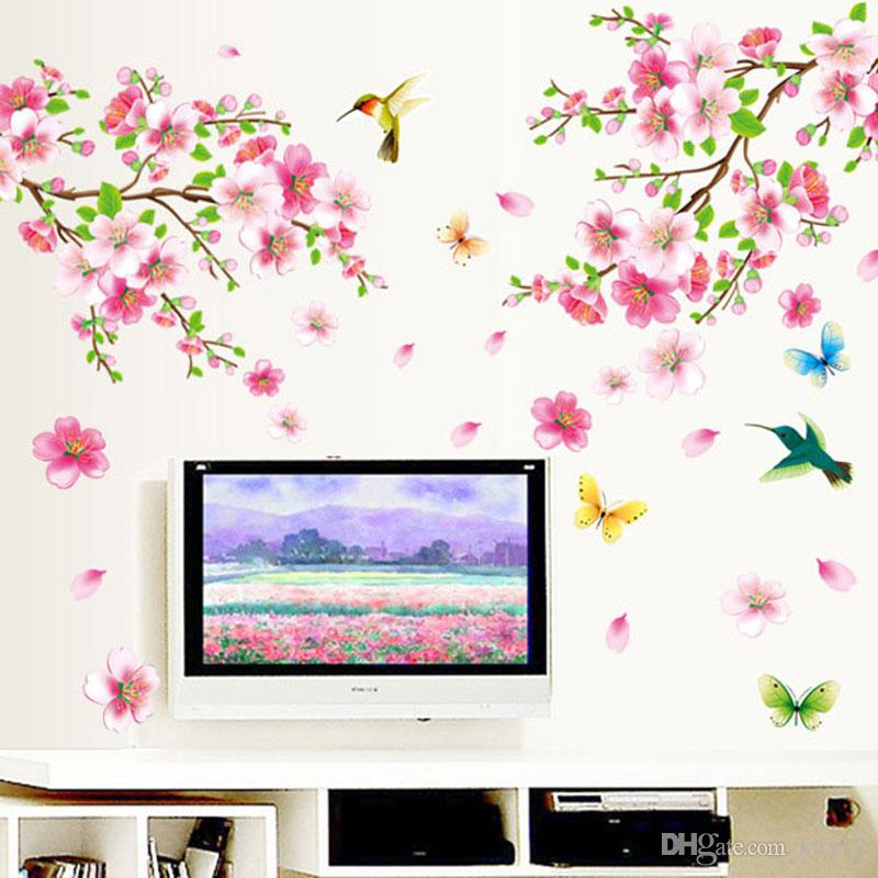 3D New Cherry Peach Blossom Flower Branch Butterfly Bird Removable PVC Art Wall Sticker Wall Decor Decals DIY