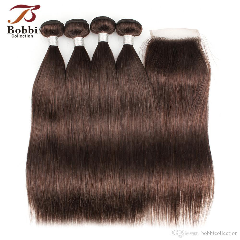 Color 4 Chocolate Dark Brown Straight Hair Bundles With Closure