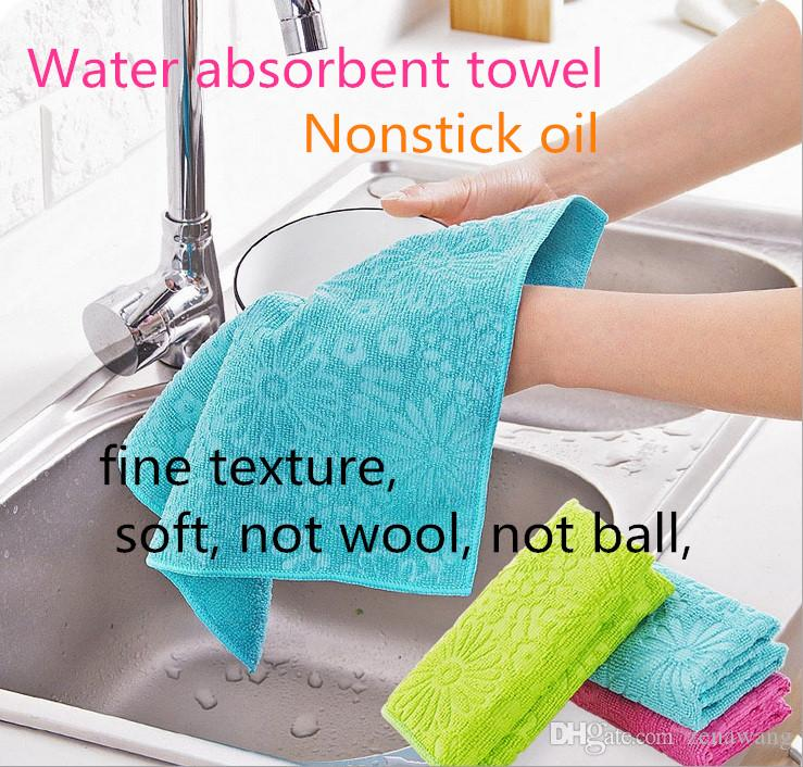 Home essential Fine fiber dish cloth Water-absorbing oil-free lint-printing dish towel Kitchen scouring pad practical reuseable