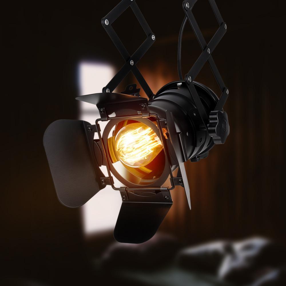 Loft Industrial Track Lampada a sospensione Faretto Nero Moderno Track Lights Negozio di abbigliamento Lampada a sospensione E27 Base Soggiorno camera da letto