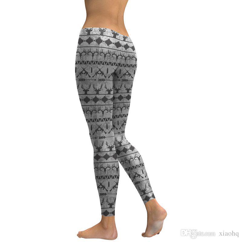 WHOOP Women Leggings Elk 3D Printed Bow And Arrow Girl Pencil Fit Skinny Stretchy Yoga Pants Sport Elastic High Waist Trousers
