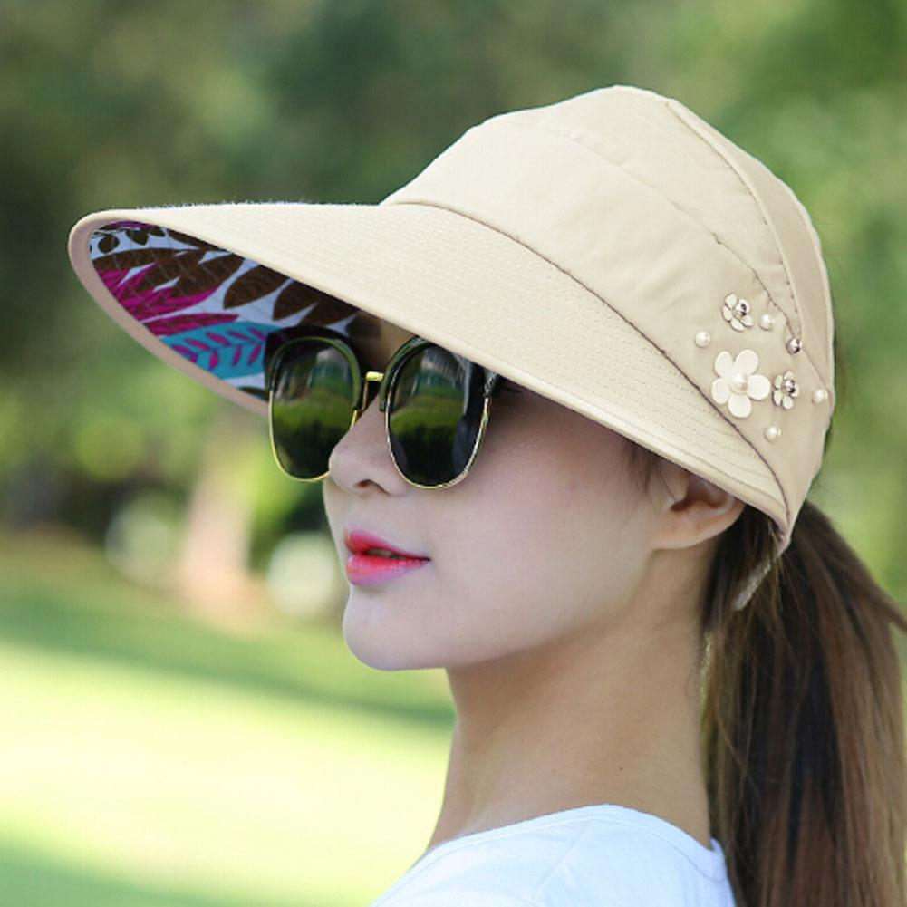 4516ccf20 1PCS Women Summer Sun Hats Beach Hat Packable Sun Hat With Big Heads Wide  Beach UV Protection Female Cap