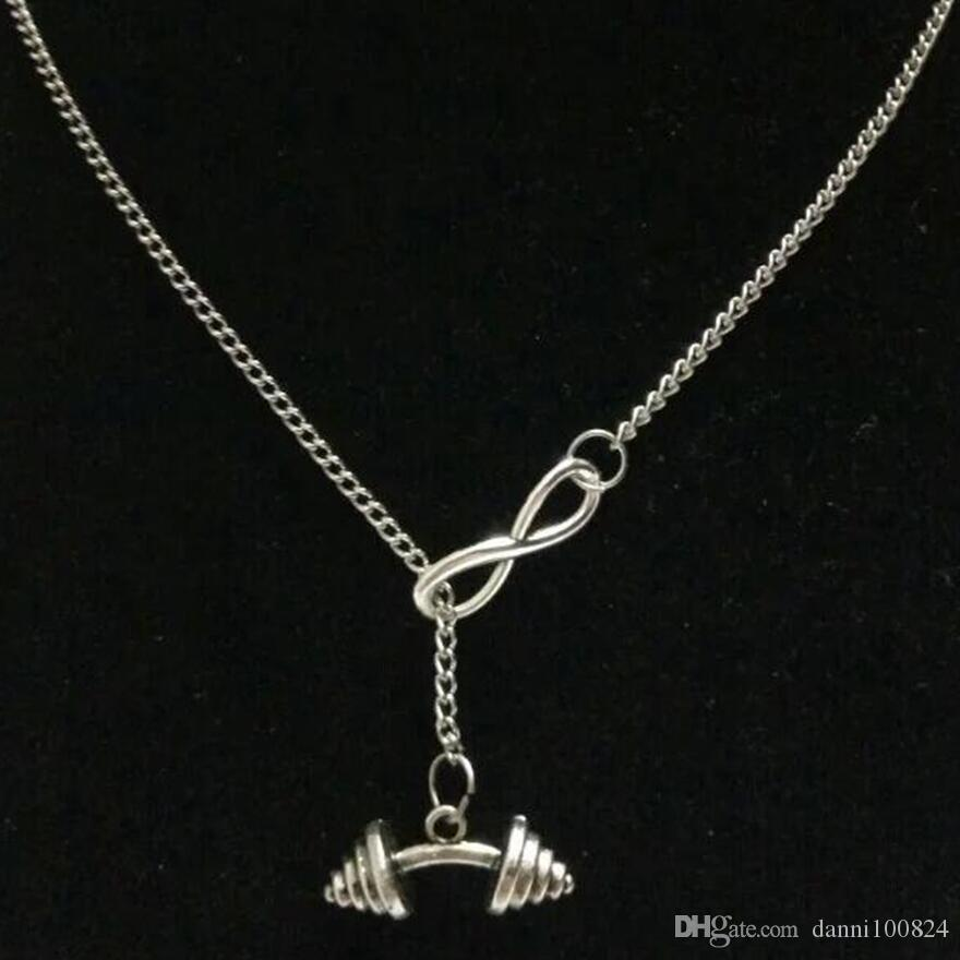 Sorte 8Fitness Halteres / Estrela Do Mar / Tesouro Chave / Lua Do Vintage charme de prata camisola cadeia necklacebracelet DIY Mulheres jóias Acessórios A47