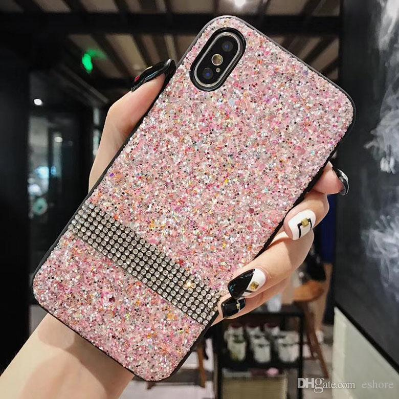 5678c0fd07275 Premium Bling Diamond Rhinestone Glitter Phone Case For IPhone X 8 7 6 Plus Fashion  Design Sparkle Back Smartphone Cover Cheap Cell Phone Cases Designer ...