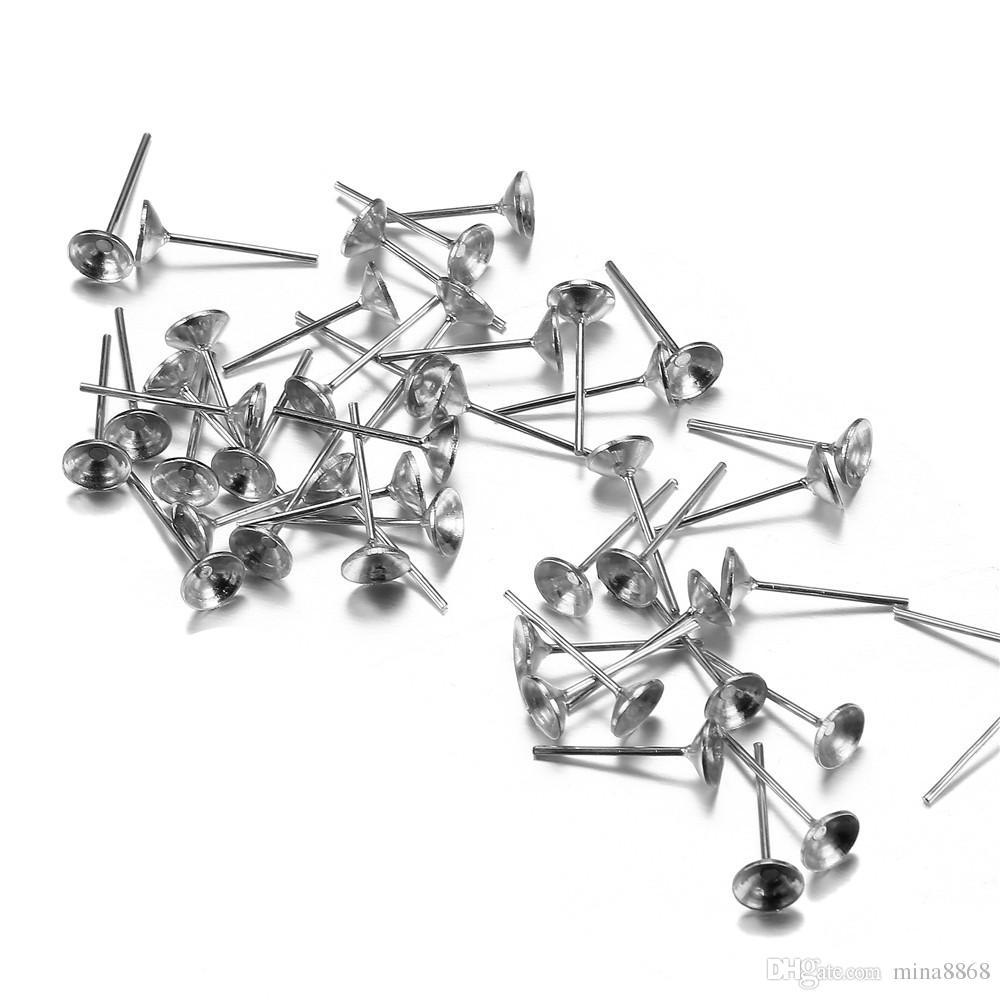100 pçs / lote 13 * 6 mm parafuso prisioneiro brinco base em branco pasta contas Base de ouro / prata cor Ear Post Ear Stud para DIY jóias brinco configuração