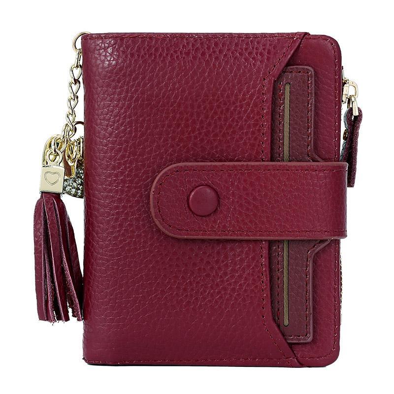 4db0b4711f769 ZORESS Womens Soft Echtes Leder Kurze Brieftasche Mini Geldbörse Quaste  Reißverschluss Kleine Hasp Geldbörsen Damen Geldbörsen Geldbeutel