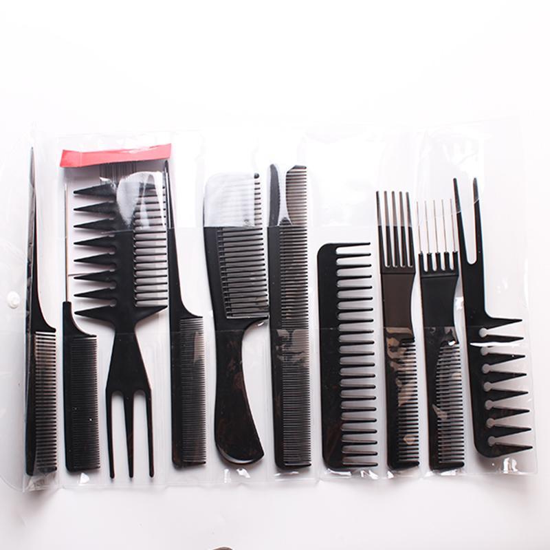 10 adet / takım Profesyonel Saç Fırçası Tarak Salon Kuaför Anti-statik Saç Combs Saç Fırçası Kuaför Combs Saç Bakımı Şekillendirici ...