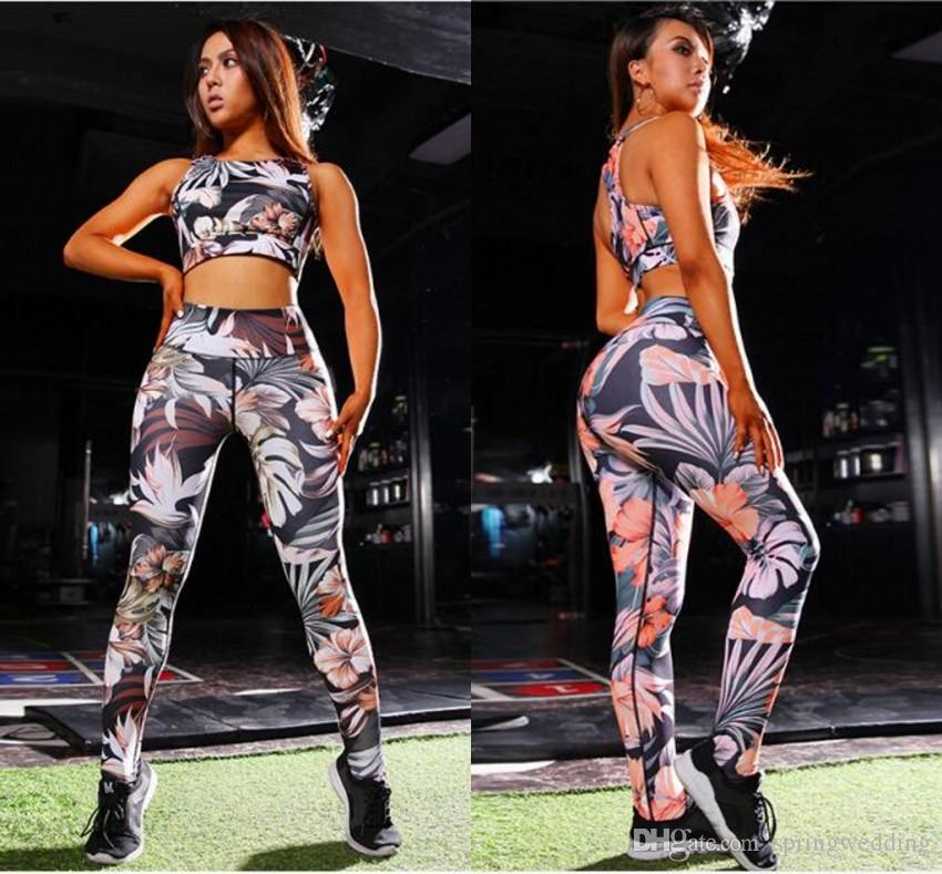 9f19e83dfc 2019 European   American New Trends 3D Printed Women Leggings And Bras Slim  Yoga Running Clothes Fashion Female Push Up Sports Tracksuits FS5271 From  ...