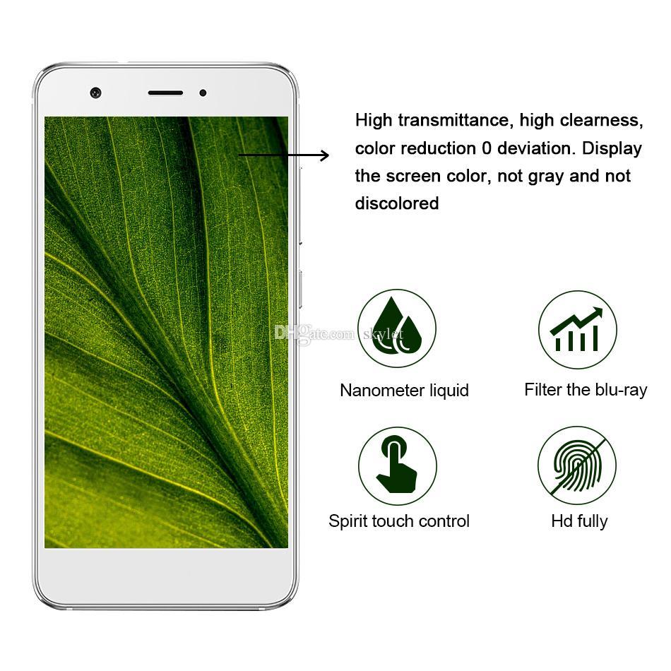 1ML Liquid Nano Technology Protector de pantalla 3D Curved Edge Anti Scratch Película de vidrio templado para iPhone X 7 8 Plus Samsung S8 Plus