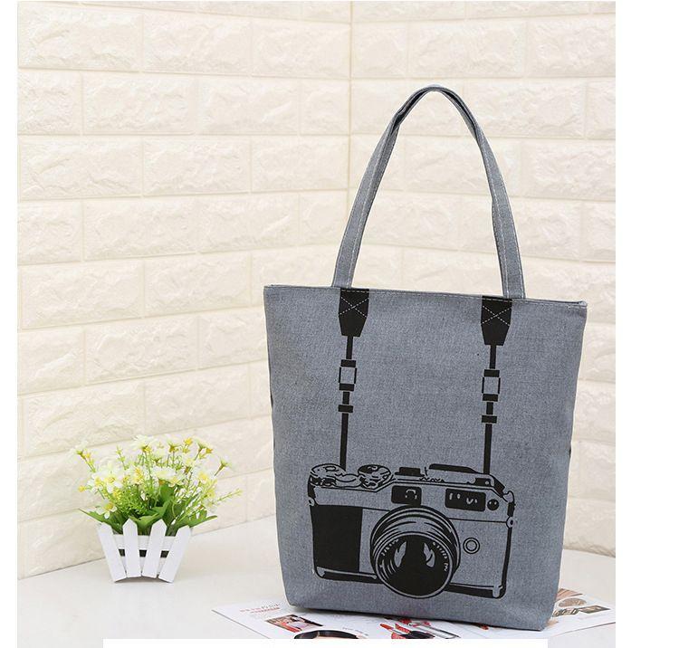 Women Canvas Handbag Cartoon Cat Printed Shoulder Bag Female Large Capacity  Ladies Beach Bag Women Canvas Tote Shopping Handbags Eco Friendly Bags  Reusable ... 95288e73e6c3b