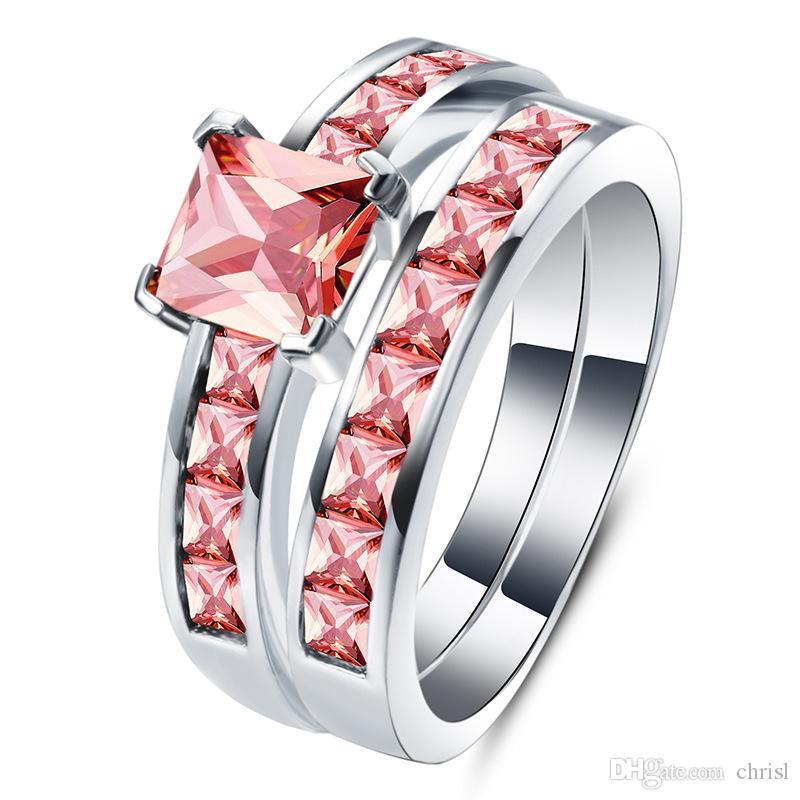 Double anneaux pour femmes or couleur bague de fiançailles en cristal élégant femmes anneaux bijoux zircone incrusté rubis bijoux