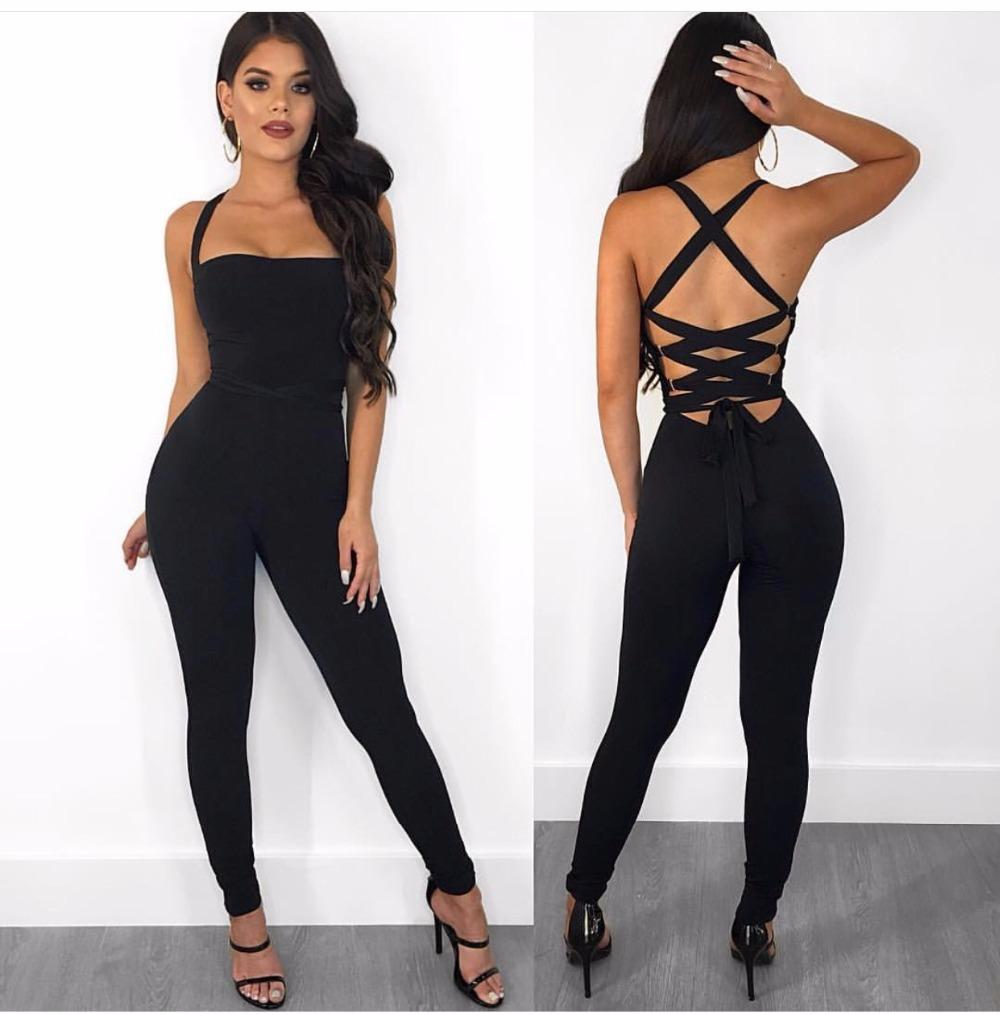56d8c816729 2019 2018 New Arrivals Good Quality Black Back Open Bandage Jumpsuits  Wholesale Dropshipping From Modleline